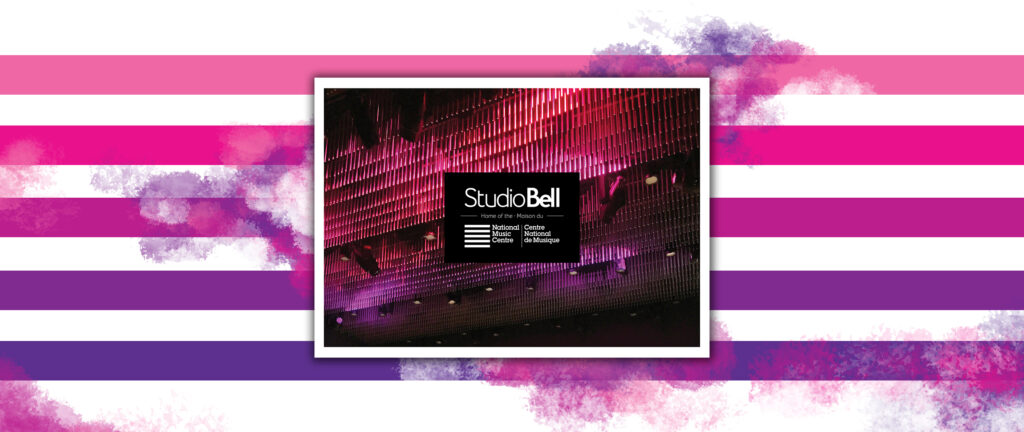 Studio Bell: National Music Centre postcard featuring the lights in the Performance Hall.