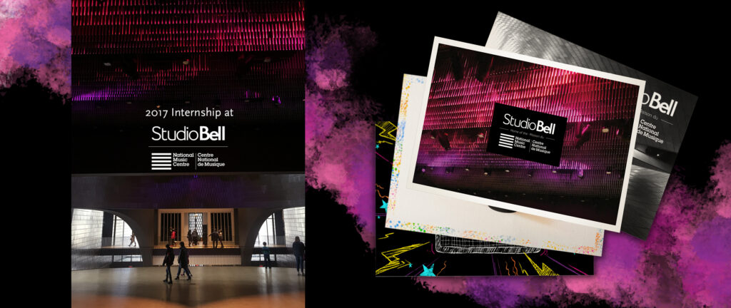 On the left is a photograph looking out of Performance Hall as visitors of the museum walk underneath the dim lights emitted from the icicle purple and pink lights hanging from the ceiling. On the right are several postcards featuring photos and the branding of Studio Bell loosely stacked on top of eachother.