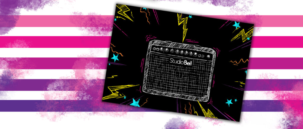 An illustration of an amp with the Studio Bell logo blasts music and vibrates, emitting sparks and shooting stars.