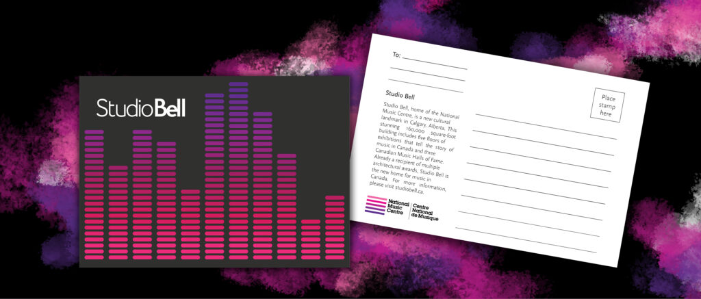 This postcard features an audio visualizer with high and low notes transitioning from pink to magenta purple on a black background with the Studio Bell logo at the top left.
